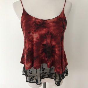 Tops - Red & black tie-dye lace Tank